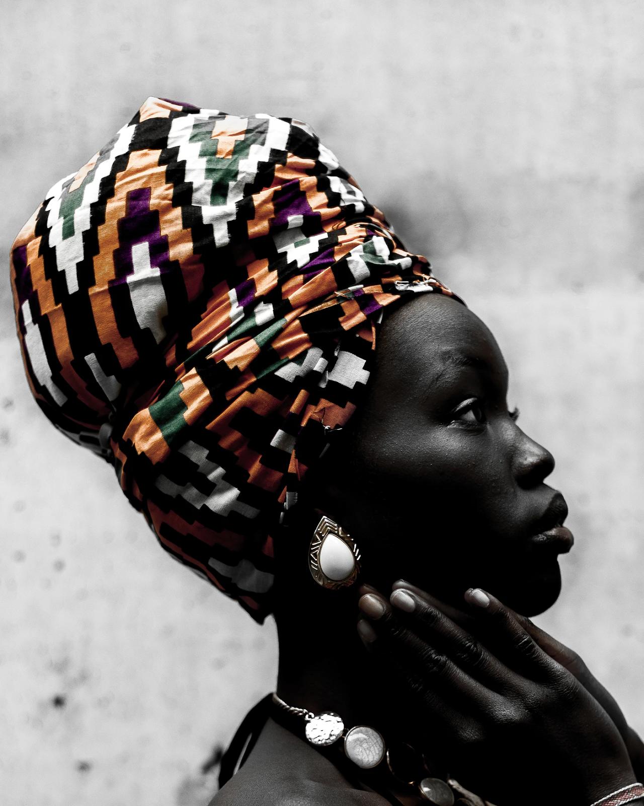 "Oladimeji Odunsi. ""person with orange and white headdress."" 2018."