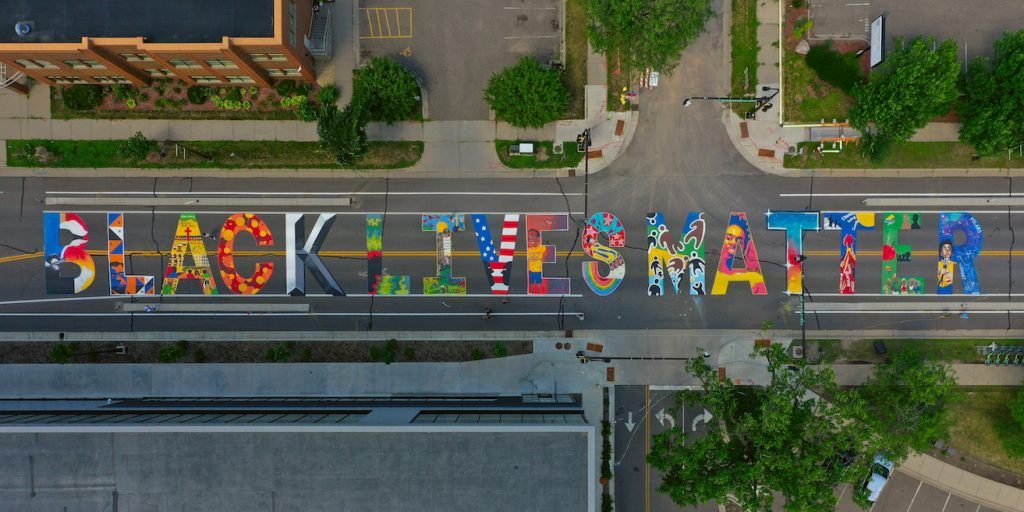 Aerial view of Black Lives Matter mural at Penn and Plymouth