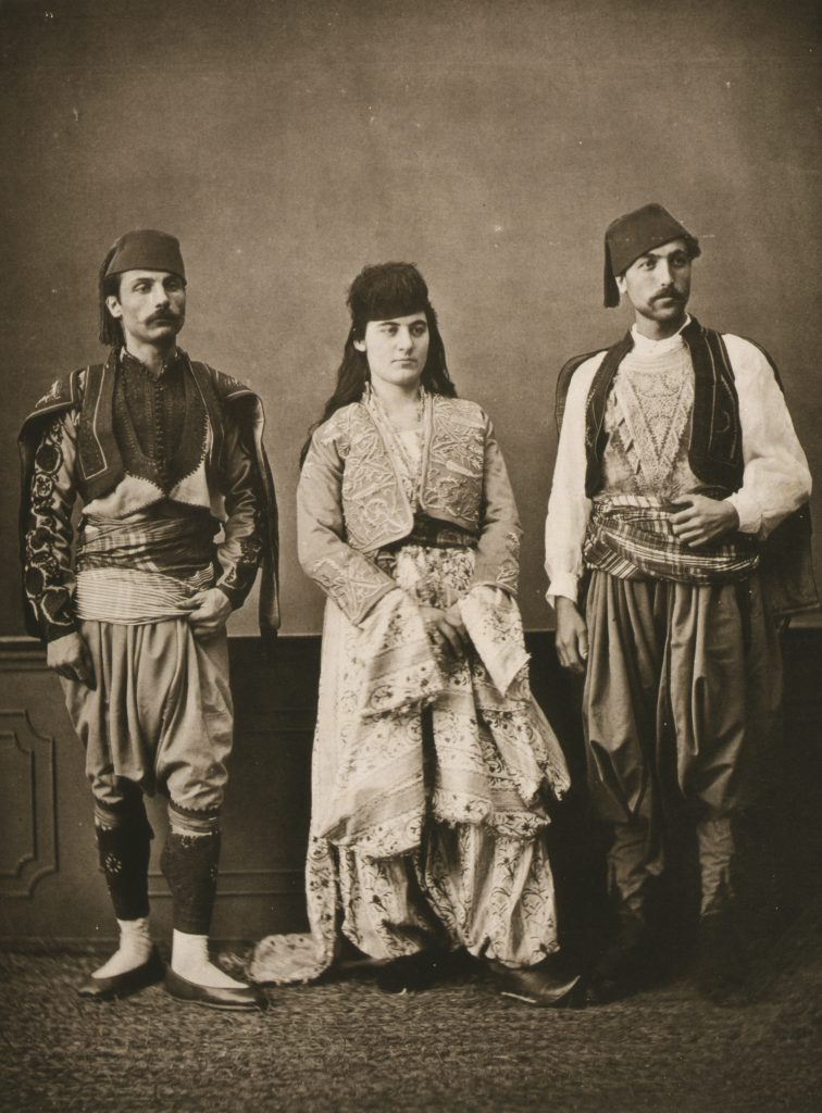 Launay, Marie de, and Osman Hamdi Bey, Sébah, Pascal, photographer. Studio portrait of models wearing traditional clothing from the province of Hudavindiguar, Hüdavendigar, Ottoman Empire. Turkey Bursa, 1873.