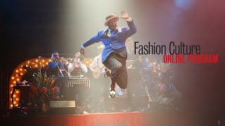 """Image of Louis Armstrong dancing on stage with the words """"Fashion Cultures Online"""""""