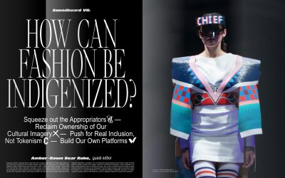 """Image with the text """"How Can Fashion Be Indigenized?"""" and a photo of a model wearing a white dress with wide sleeves and panels of blue, turquoise, and red colors"""