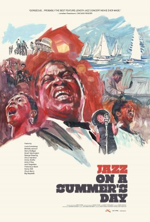 Film poster with images of black people singing and mountains and a lake with sailing boats in the background