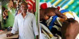 Photo of black man wearing a white shirt on the left and close-up of his hands making a flag on the right