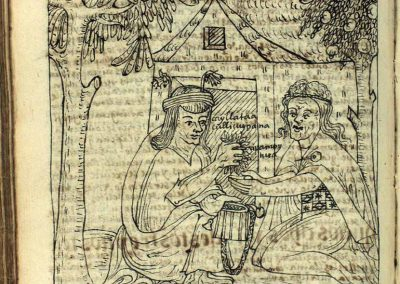 Page from manuscript with two human figures holding a coca bag and filling it with coca leaves