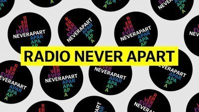 """Image with the words """"Radio Never Apart"""" inscribed repeatedly"""