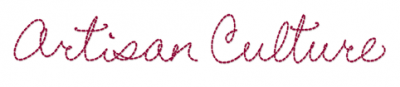 """the words """"artisan culture"""" written in red, cursive type"""