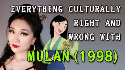 """Photo of woman with dark hair and red lipstick and image of the Disney cartoon """"Mulan"""", with the title of the talk inscribed"""