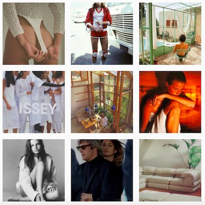 Screenshot from the Sporty & Rich Wellness Club Instagram Account, featuring images of
