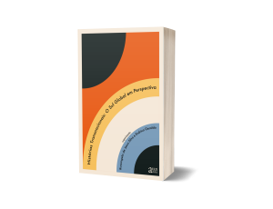 Photo of book with layered semi-circles of different colors and the title and editor information inscribed