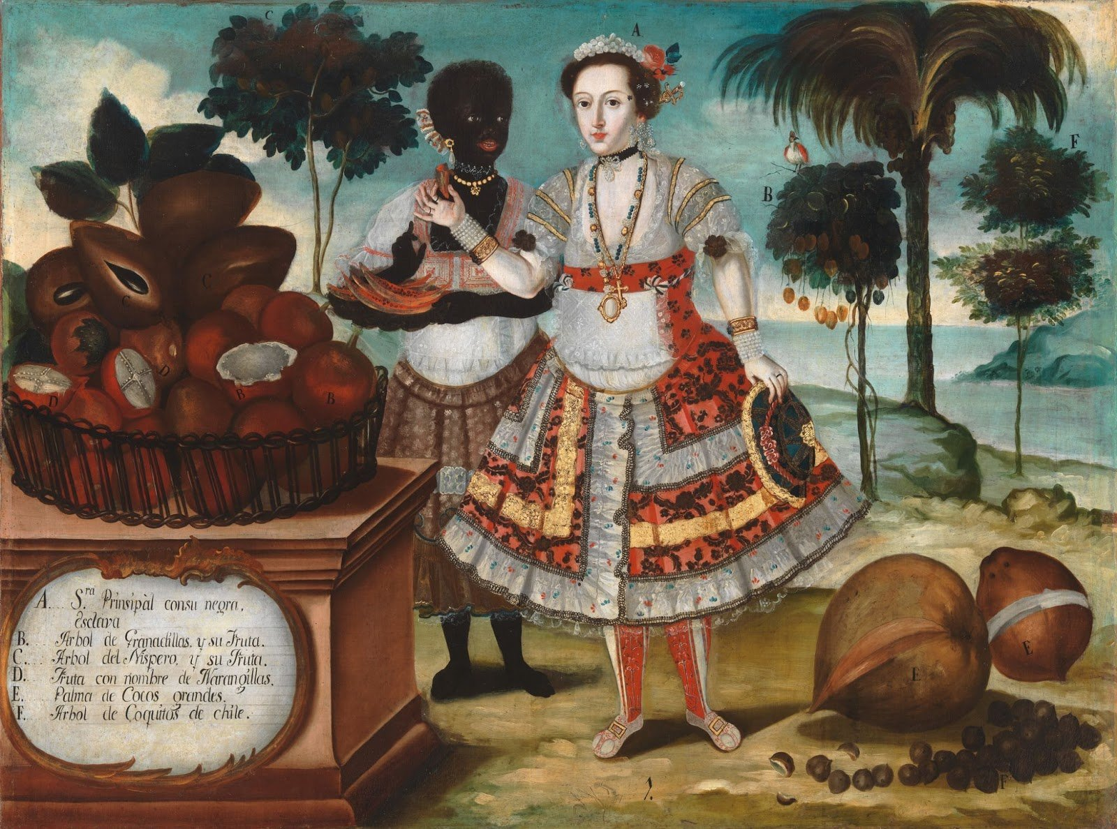 Oil painting of a white Spanish noble woman and her black slave with coconut & coconut trees in the background