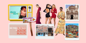 Collage of images of Latin American women and houses