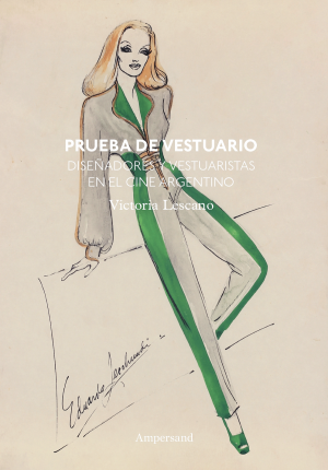 Book cover with design for a woman's jumpsuit of grey and green colors