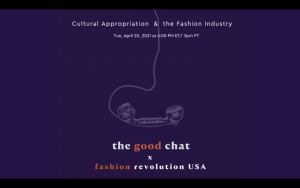 """Poster for the event with the title """"Cultural Appropriation & the Fashion Industry"""""""