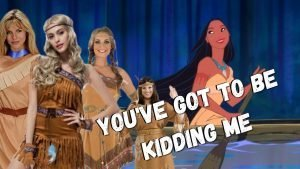 """Images of the Disney cartoon of Pocahontas and white women wearing Pocahontas costumes with the words """"You've got to be kidding me"""" inscribed across them"""