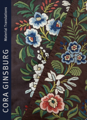 Catalogue cover with detail of textile with floral motifs