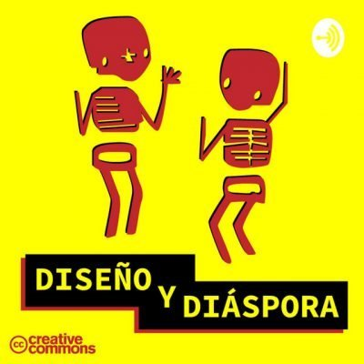 """Podcast logo with two anthropomorphic figures dancing and the words """"Diseño y diáspora"""" inscribed on a banner"""