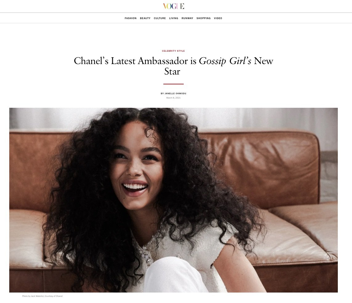 Screenshot from Vogue's article announcing actress Whitney Peak's ambassadorship with Chanel.