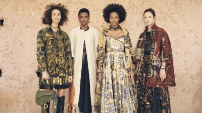 Photo of four models wearing African-inspired fashion