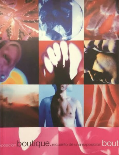 """Cover of the catalogue for """"Boutique"""" with images of body parts"""