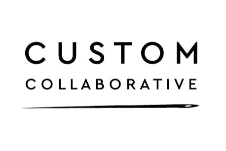 """Custome Collaborative logo. White background with black text that reads """"Custom Collaborative"""""""