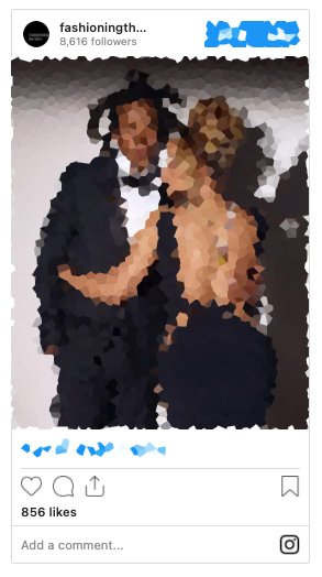 Blurred image of an Instagram post that has since been deleted.