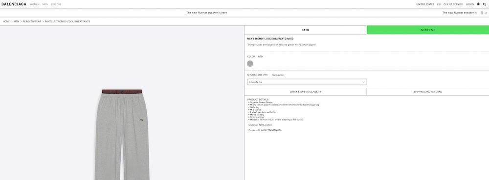Screenshot of the Men's Trompe-l'oeil Sweatpants on the Balenciaga website