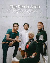 Four figures stand in front of a white wall. They are all wearing MCM, and text above them reads The Remix Shop by Misa Hylton