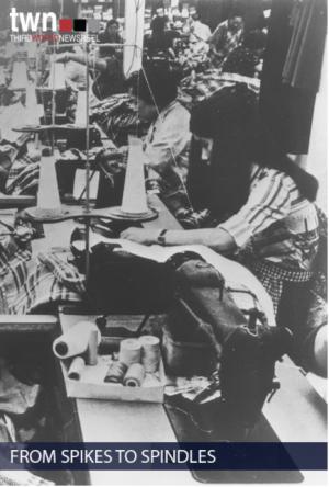 Black and White photo of women on machine