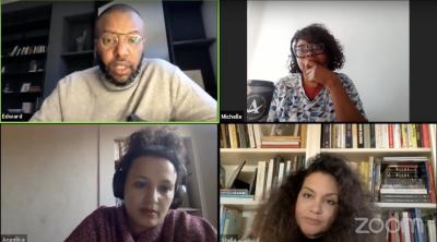 Four people talking on webcam.