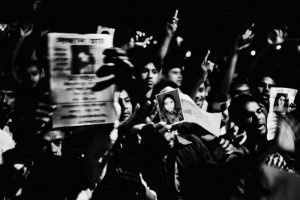 Black and White photo of people in a crowd