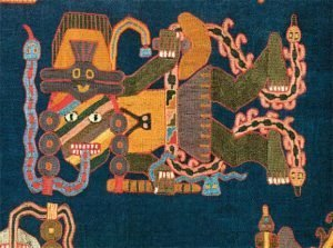 Detail of multi-colored Paracas textile with semi-abstract anthropomorphic figure