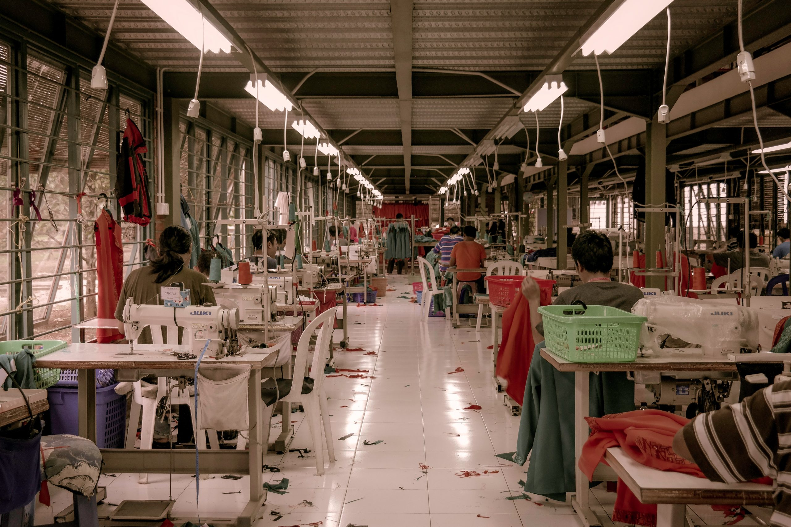 Workers are seen in a garment factory
