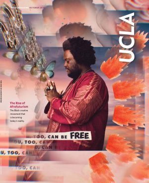 Poster with man wearing a red jacket surrounded by semi-abstract motifs