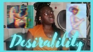 """Photo of YouTube channel host with two stills from Megan The Stallion's music videos and the words """"Desirability"""" inscribed on the bottom"""