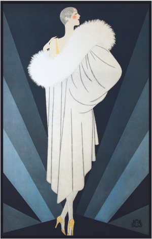 Illustration of woman in long coat dress