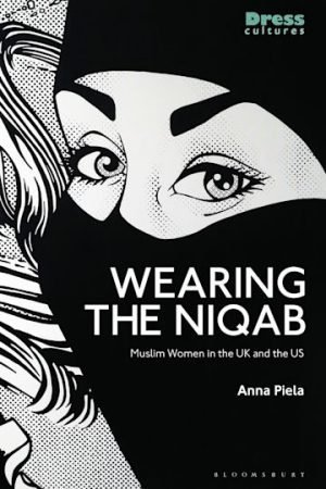 An animation of a close up of a woman's face in a niqab