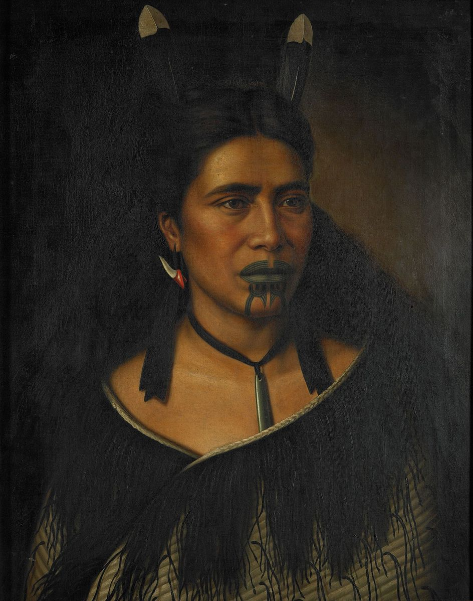 Portrait painting of Māori woman, Mrs. Mihiterina Takamoana, with a tattoo on her mouth and chin, 1887.