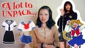 """Photo of YouTube channel hostess with images of """"Japanese schoolgirls"""" and their uniforms surrounding her, and the words """"A lot to unpack…"""" inscribed on the upper left corner"""