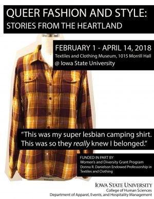 Picture of brown checkered shirt. Text says: Queer Fashion and Style Stories From the Heartland